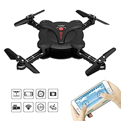 FQ777 FQ17W Pocket Foldable RC Quadcopter Drone with FPV Camera and Live Video - App and Wifi Phone Control - Altitude Hold 3D Flips & Rolls- 6-Axis Gyro Gravity Sensor RTF Helicopter(Black)