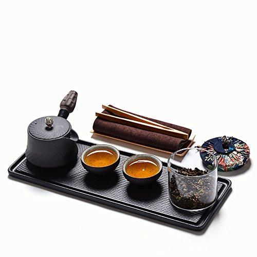 Ensemble de plateau de théière de qualité supérieure Table à thé en céramique Bureau Kung Fu Tea Retro Black