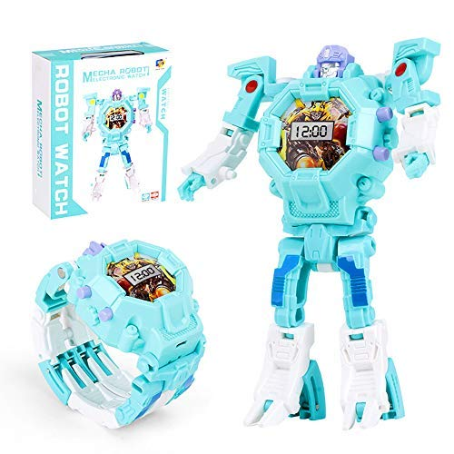 Mmhdz Toy Watch Transformers Spielzeug, 3-in-1 Projektion Armbanduhr Transformation Spielzeug Figuren für Kinder, Digitaluhr Elektronische Roboter Spielzeug(blau) - 3-in-1-transformer-spielzeug