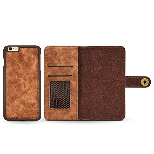 GR PU-Leder Case Cover mit großen Capity Card Cash Slots und Secure Niet Schnalle für iPhone 6 Plus und 6s Plus ( Color : Blue ) Brown