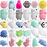 Defrsk 30 Piezas Mochi Squishy Juguetes Gato Squishy Kawaii Mini Squishies Animal Soft Squishies Alivio del Estrés Juguetes Mochi Stress Animal Squishy