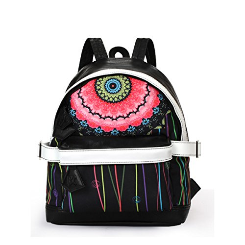 FZHLY Creativo Shoulder Bag Graffiti Tela Di Canapa Casuale Zaino Sport Fashion,AmericanFlag FlowerPupil