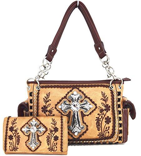 Blancho Biancheria da letto delle donne [Fiore] borsa dell'unità di elaborazione di cuoio di modo elegante Borsa lightbrown Combo-LightMarrone
