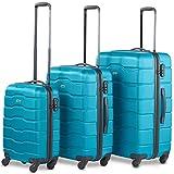 VonHaus Luggage Set of 3 ABS Lightweight Hard Shell Teal Suitcase - 4