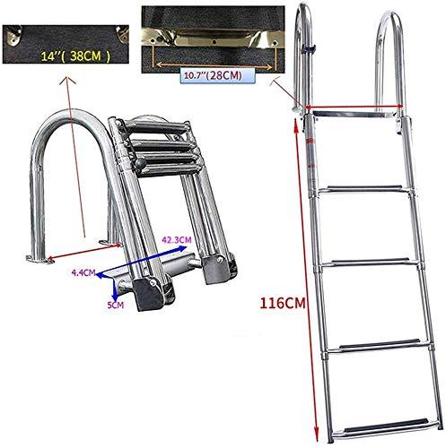 WYZXR Escalera de baño de pontón de 4 peldaños Escalera con escalón Extra Ancho, Escalera de barandilla telescópica Plegable de Acero Inoxidable para Piscina de muelles de Barcos