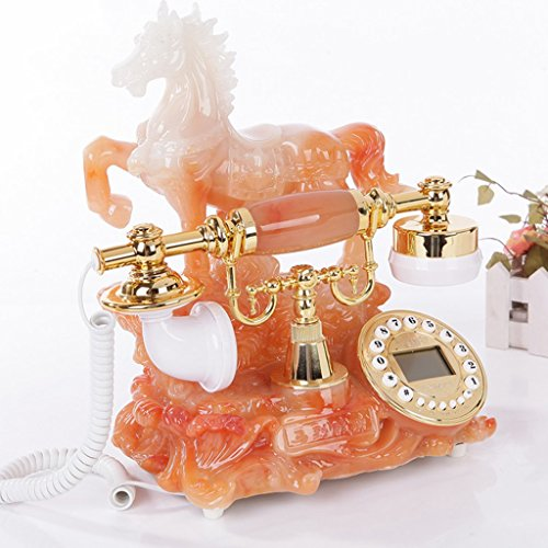 NAMEI Antique Telefon Home Schnur Handys Creative Resin Retro Fixed Telefon Anrufer ID Button Dial und Classic Metal Klingeltöne (Orange) (Farbe : Ordinary Version) Fixed Dial