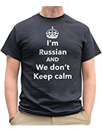 Nutees I'm Russian And We Don't Keep Calm Funny Mens T Shirt - Black