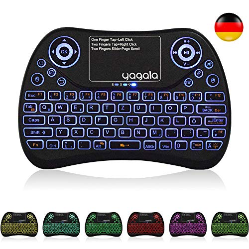 YAGALA Mini Tastatur Wireless mit Touchpad Mouse Combo,2.4GHz QWERTZ Deutsch Tastaturlayout, Smart TV Tastatur Fernbedienung für Android TV Box, HTPC, IPTV, XBOX360, PC, PAD (Boxen-pads)
