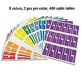 iSuperb Kabel Aufkleber Farben Sortiert Kabel Label Zubehör mit Frei Online Drucken Werkzeug Selbstklebendes Wasserdichtes Labels (8 Farben)