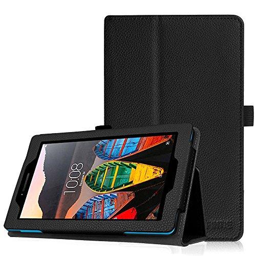Fintie Lenovo Tab 3 7 Essential / TAB3 A7-10 Hülle - Folio Kunstleder Schutzhülle Cover Tasche mit Ständerfunktion und Stylus-Halterung für Lenovo TAB3 7 Essential / TAB3 A7-10 17,78 cm (7 Zoll IPS) Tablet - Schwarz