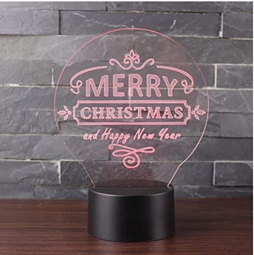 7 Cambiare colore Camera da letto LED 3D Usb Happy New Year Night Lights Lampada da tavolo Decorazione della casa Bambini luci Apparecchio regalo di Natale