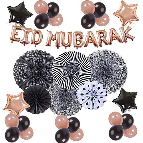 terferein Muslimische Eid Mubarak Dekoration-Aluminiumfolie Papier Fan Rose Gold Ballon Set Mit Langlebigen Und Unterstützung Helium Oder Luft, Unterstützung Wiederverwendung