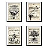 Nacnic Ensemble de 4 Affiches pour encadrer Le Style Vintage. Affiches de partitions, Affiches de Musique. Photos avec des Images de vélo, Ballon, Pissenlit et Arbre. Taille A4