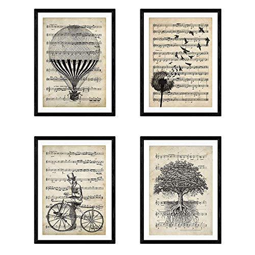 Nacnic Set de 4 láminas para enmarcar con partituras. Estilo Vintage. Tamaño A4.