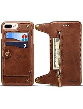 Funda iPhone 6/6S/7/8,KelaSip Billetera de Cuero[Ranuras para Tarjetas] para iPhone X,Función de Soporte,Billetera...