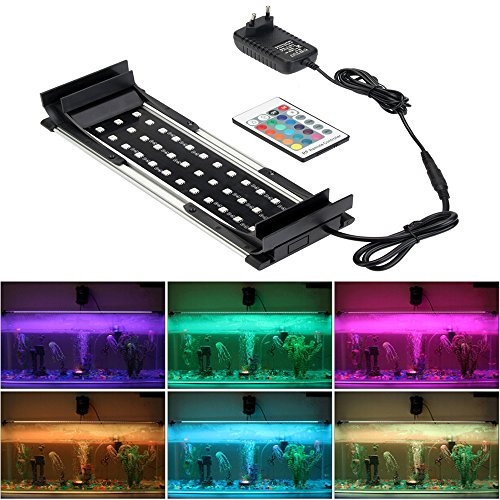 GreenSun 264mm-364mm Aquarium Lampen Beleuchtung LED RGB 16 Farben Aufsetzleuchte Licht Aquariumleuchte Alulegierung Klemmleuchte mit 24 Tasten Fernbedienung EU Stecker Aquarium-licht 36 Pflanzen