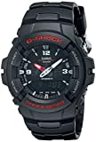 Casio Men's G-Shock Quartz Watch with Black Dial Analogue Digital Display and Black Resin Bracelet G-100-1BVMUR