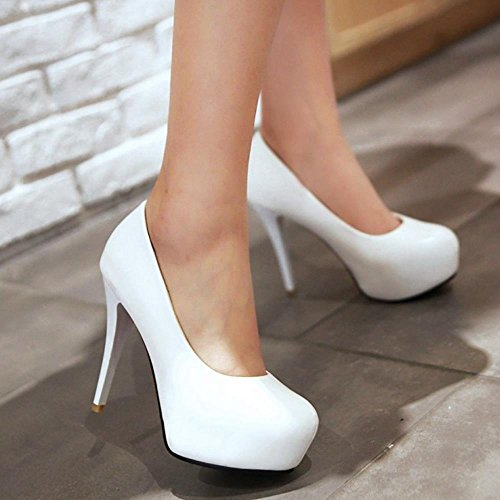 TAOFFEN Femmes Chaussures Western Aiguille A Enfiler Plateforme Talons Hauts Escarpins Blanc