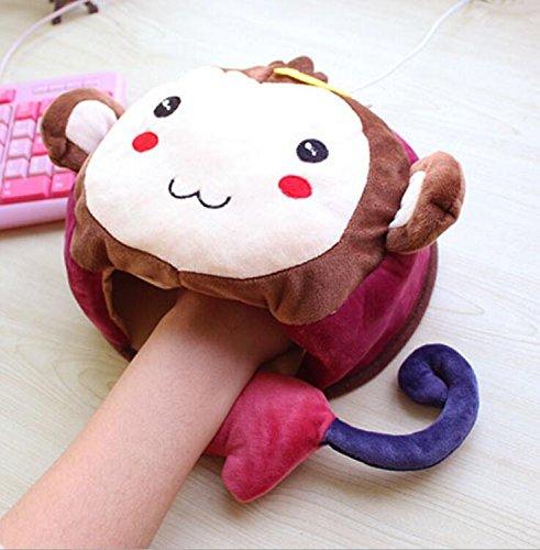 Kelaina Dessin animé de souris USB chauffant Chauffe-mains Tapis de souris avec protection de poignet, Colorful Monkey, 23*20.5cm