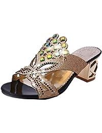 MEIbax Frauen Flower Solide Flache Ferse Dicke Untere Sandalen Slipper Strand Schuhe
