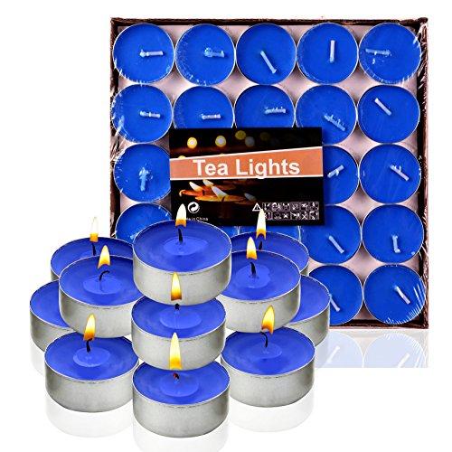 Ailiebhaus 50 Teelicht Set romantische Herz Kerzen (Blau)