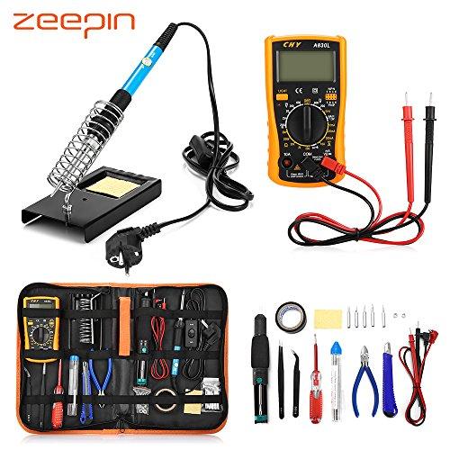 ZEEPIN Eléctrico Soldador Kit de Estaño Profesional -23 en 1 Soldadura con Maletín para Free-60w 220v Soldador Temperatura Ajustable para Soldadura de Precisión