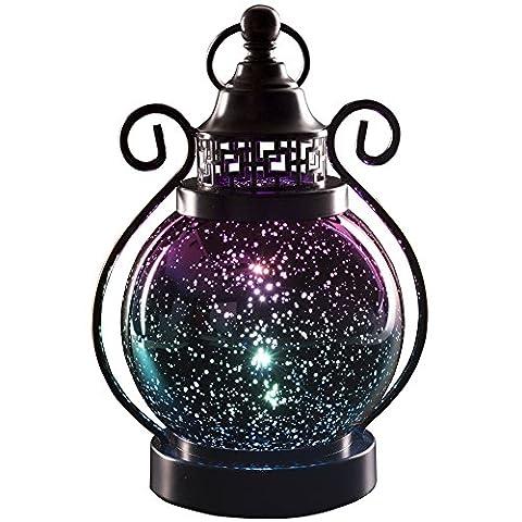 Valery Madelyn Dekoratives Windlicht Laterne aus Rostfreiem Edelstahl und Glas, Led Stimmungsvolle Lampe mit Farbwechsel und Timerfunktion für Innen und Außen Deko,