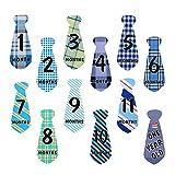 #2: Ziory 12 Pcs Baby Monthly Necktie Onesie Stickers - Monthly Milestone Belly Necktie Stickers Tie
