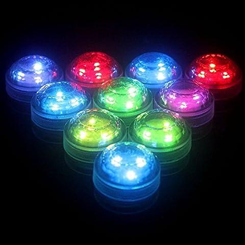 LED Unterwasser Scheinwerferkit Teelichter Multi Farbe Wasserdicht Blinken Bright Light für Hochzeit Party Weihnachten Schwimmbad Aquarium Dekorationen Fernbedienung batteriebetrieben (10PCS)