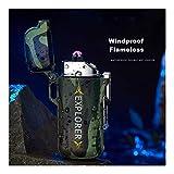 YUHUII Accendisigari Esterno Impermeabile a Doppio Arco Plasma Accendino Smoking Accessori USB accenditore elettronico Doppio Arco accendini Uomini Gadget (Colore : Camouflage)