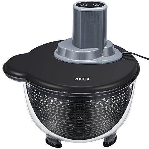 Aicok Eléctrica Centrifugadora Ensalada con Dos Modos y Tapa desmontable, Material de Tritan, Anti-extrusión, 4 Litros, Negro
