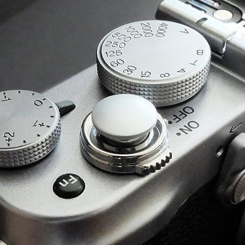 Métallique Soft Déclencheur en argent (convexe, 10mm) pour Leica M-Serie, Fuji X100, X100S, X100T, X10, X20, X30, X-Pro1, X-Pro2, X-E1, X-E2, X-E2S et tous les appareils photos avec la bouche filetage conique