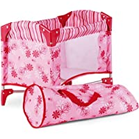 Gotz 3402121 Baby-Doll Travel Cot Flowers Doll Accessorie - Suitable For All Baby Dolls And Standing Dolls Up To 46 cm - Suitable Agegroup 3+