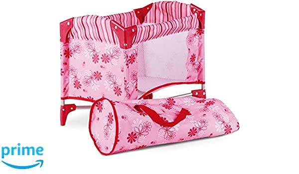 Gotz 3402121 Baby-Doll Travel Cot Flowers Doll Accessorie Suitable For All Baby Dolls And Standing Dolls Up To 46 cm Suitable Agegroup 3+