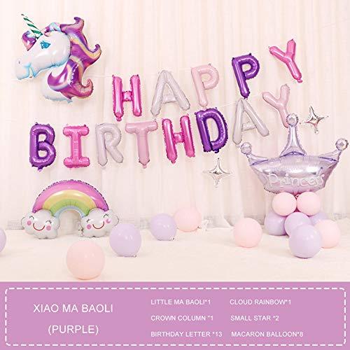 RLF LF Kinder Geburtstag Fest Luftballons Dekorationen Set Zubehr, Karikatur Einhorn Brief Geburtstagsdeko Ballon, Kind Party Aluminiumfolie Latex Luftballonsätze,E
