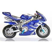 Nitro Motors PS77 - Minimoto (49 cc), diseño de moto de cross, color azul y blanco
