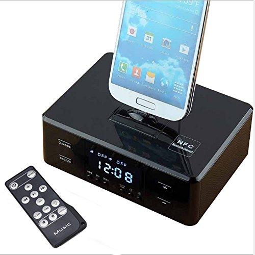 NSOP Wireless-Wecker Bluetooth-Lautsprecher, NFC-Radio-Player mit Lautsprecher Ladegerät Dock Für iPhone 6S 5 S 4 S Samsung S6 S5 LG HTC Ios & Andriod,Black