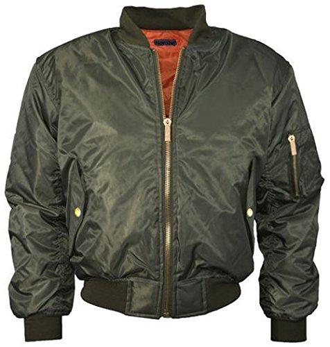 NOROZE Mädchen Jungen Kinder Ebene MA1 US Luft Pilot Reißverschluss Bomber Motorradfahrer gepolstert Jacke Mantel Alter 7-13 Jahre