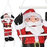 JEMIDI Outdoor Weihnachtsmann an Leiter 90cm für den Außenbereich kletternder Nikolaus Hauswand Weihnachten Deko