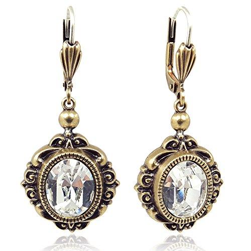 Jugendstil Ohrringe mit Kristallen von Swarovski® Gold Ohrhänger NOBEL SCHMUCK