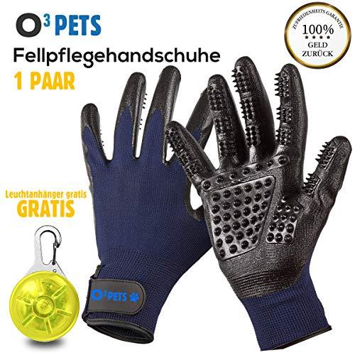 O³ Pets Fellpflegehandschuh // 1 Paar Handschuhe + 1 Leuchtanhänger // Fellhandschuhe Hunde Katzen Pferde // Pet Grooming Glove - Tierhaar Handschuh