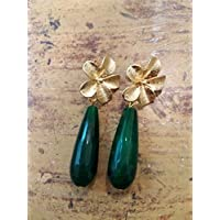 regalo di san valentino coppia amore fidanzamento innamorati orecchini fiori in ottone e pietre dure oro agata verde smeraldo