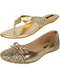 AUTHENTIC VOGUE Women's Combo Pack Of Party Wear Glossy Golden Flat Sandal & Ballerinas (Combo Pack Of 2)