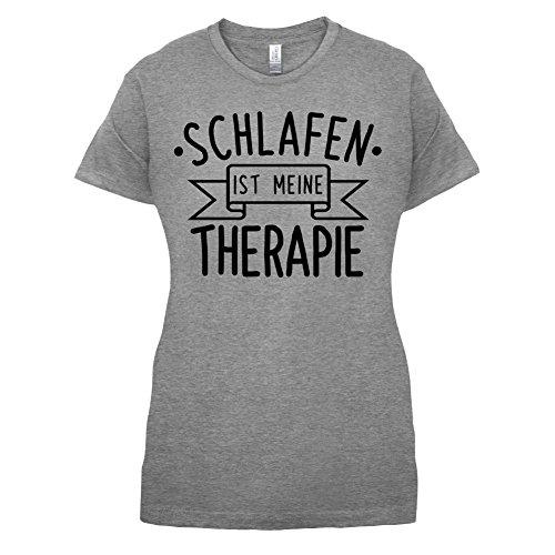 Schlafen ist meine Therapie - Damen T-Shirt - Sportlich Grau - L