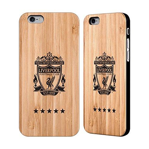 Offizielle Liverpool Football Club Schwarz Medium Crest Hülle mit Rückseite aus Bambus Holz für Apple iPhone 6 / 6s