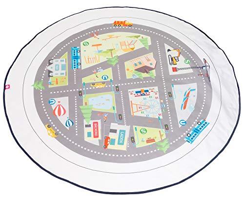 Spielmatte / Spielteppich für Baby & Kinder - Rund, Groß & Weich gepolstert - Ideal fürs Kinderzimmer - Schadstofffreie Kindermatte und Krabbeldecke für Mädchen & Junge (Meine Stadt)