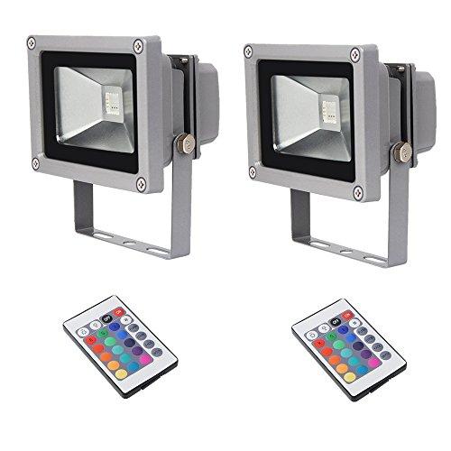 SAILUN LED Scheinwerfer RGB Flutlicht 2 x 10W Strahler Fluter Mit IR-Fernbedienung Wasserdicht IP65 Silber Aluminiumkörper
