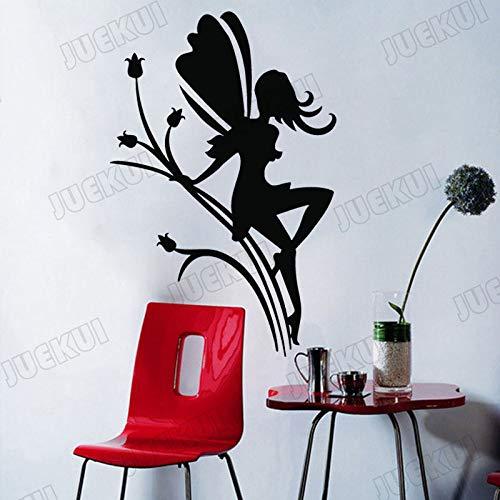 yaoxingfu Blumenfee Mit Flügeln Entfernbare Wandaufkleber Für Schlafzimmer Mädchen Vinyl Wandtattoos Schönheitssalon Kunst Poster Aufkleber gelb 72X110 cm
