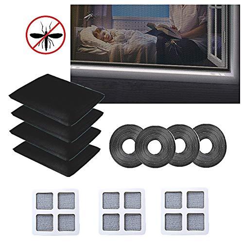 Moskitonetz für Windows, 4Stk. 1.5m x 2m Fliegengitter für Fenster, Fliegengitter für Insekten mit selbstklebendem Klebeband 3Stk. Net Repair Patch Tapes für Kinderwagen (Schwarz)