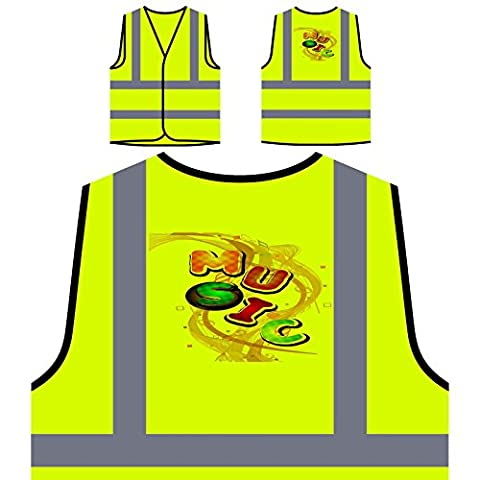 Cadeau de musique drôle de danse chant d'art de chanson Veste de protection jaune personnalisée à haute visibilité d787v